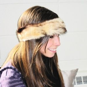 Accessories - Genuine Fox Fur Headband Marled Brown NEW